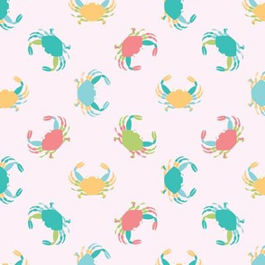 colorful crabs on pink background