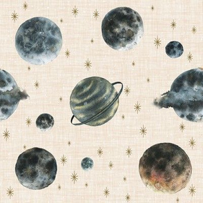 Outer Space Planets // Beige Linen