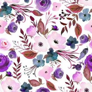 Blush and Purple Florals // White