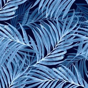 Palm  Leaves (indigo) invert