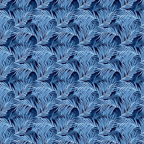 Palm Leaves (indigo) invert25