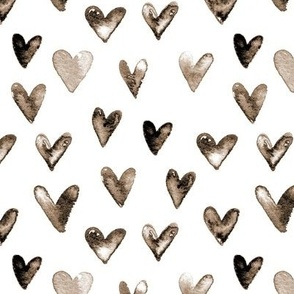 Watercolor Hearts // Mocha