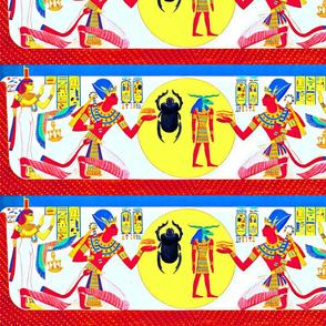 ancient egypt egyptian pharaoh Sun Ra gods goddesses kings hieroglyphics Isis wings scarab beetles eyes horus offerings Ankh colorful ram head yellow red blue royalty tribal