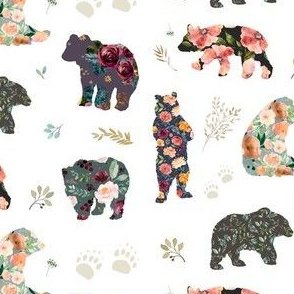 "5.25"" PATCHWORK BEARS / FLORAL"