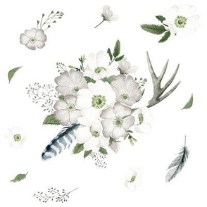 Rustic Woodland Florals // White