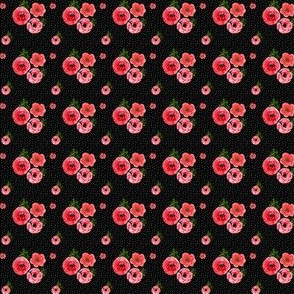 """1"""" Roses - Watercolor White Polka Dots  / Black Background"""