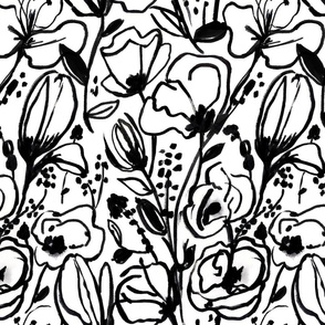 Black & White Floral Sketch