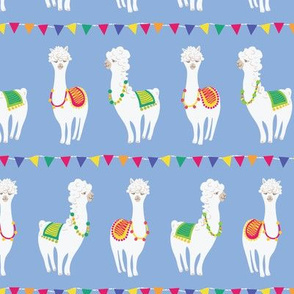 colorful llama party with  banderola