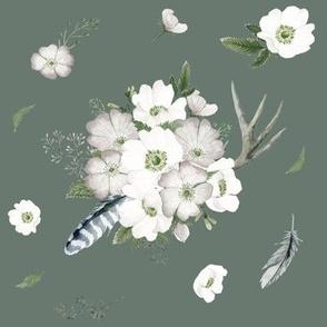 Rustic Woodland Florals // Corduroy Green