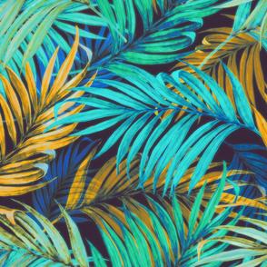 Palm Leaves vintage aqua yellow