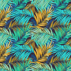 Palm Leaves vintage aqua yellow50