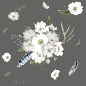 Rustic Woodland Florals // Storm Gray