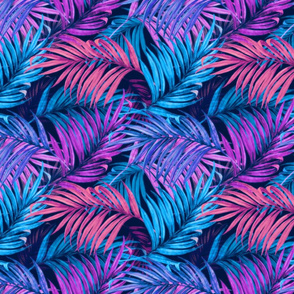 Palm Leaves pink blue 50