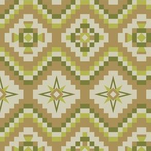 Aztec tribal in tan, beige, lime, apple green