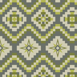 Aztec tribal in gray, lime, apple green and beige