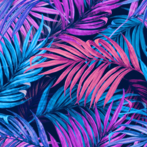 Palm Leaves pink blue