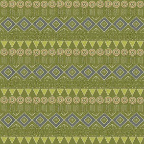 mudcloth 2 in lime, apple, gray, and tan
