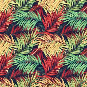 Palm Leaves vintage red50