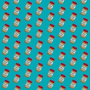 SMALL - peanut butter fabric - peanut butter jar, food fabric -  blue