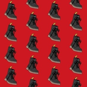 boots fabric - fashion fabric, 90s fabric, 90 fabric, combat boots - red