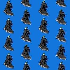 boots fabric - fashion fabric, 90s fabric, 90 fabric, combat boots - blue
