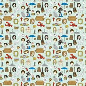 SMALL  - friends fabric - tv show, fan fabric, nyc, central perk coffee shop, central perk coffee fabric, - mint