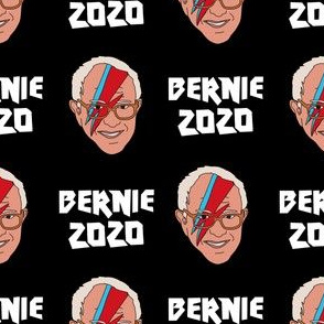 Bernie 2020 rock - Bowie Bernie, Democrats, USA, political fabric, Democrats fabric - black