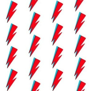 rock star - red and blue bowie, bowie fabric, rock star fabric, -  white
