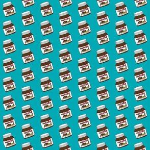 TINY - hazelnut spread - chocolate hazelnut spread, food fabric, funny fabric - teal