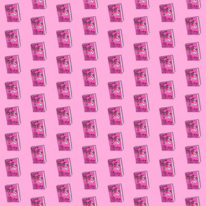TINY - on wednesdays book fabric - mean fabric, girls fabric - movie fan -  pink