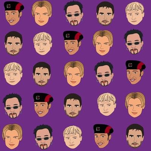 Boy band fabric, Kevin, AJ, Brian, Bowie, nick pop music - purple