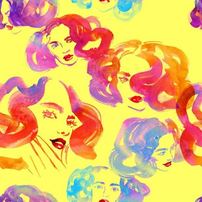 Girls with wavy hair (multi-colour, yellow background)