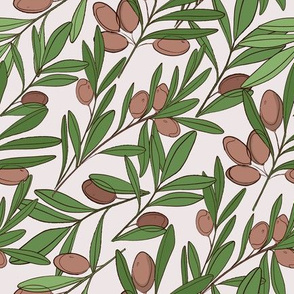 Olive leaves branch