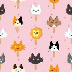 Ice cream Popsicle kitties character  pops