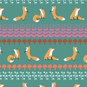 fox leaves seamless repeat pattern.