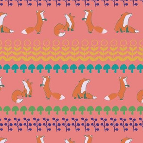 fox leaves seamless repeat pattern