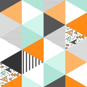 Rotated Adventure Triangle Wholecloth - Orange and Gray