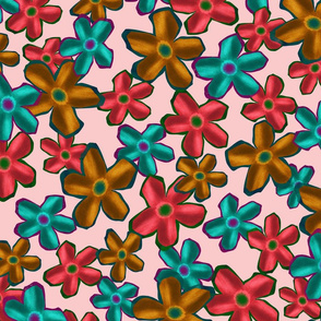 Bright flowers on pink
