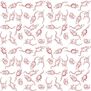 Dragons at Play deep red pattern