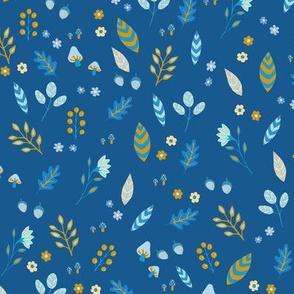 Gold & Blue Leaves