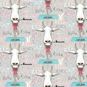 goat yoga, small scale, gray white aqua turquoise red