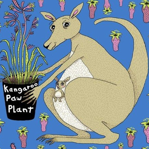 kangaroo with kangaroo paw plant, large scale, blue green beige khaki brown orchid lime
