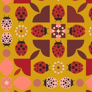 Scandinavian Style Ladybugs - Mustard Yellow Background