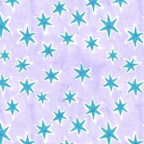 starry night - turquoise + lilac