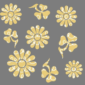 Yellow Pattern Flowers on Gray