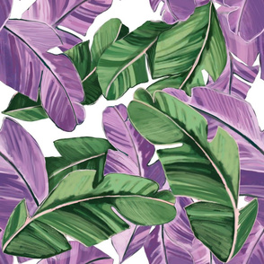 Banana palms green and purple retro