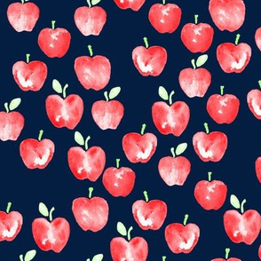 watercolor apples - navy -  LAD19
