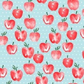 watercolor apples - blue polka -  LAD19