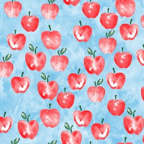 watercolor apples - blue -  LAD19
