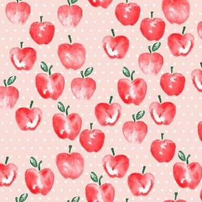 watercolor apples - pink polka -  LAD19